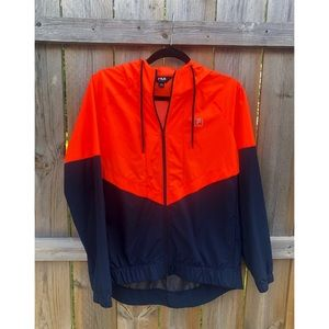 Fila Navy and Orange Windbreaker Raincoat